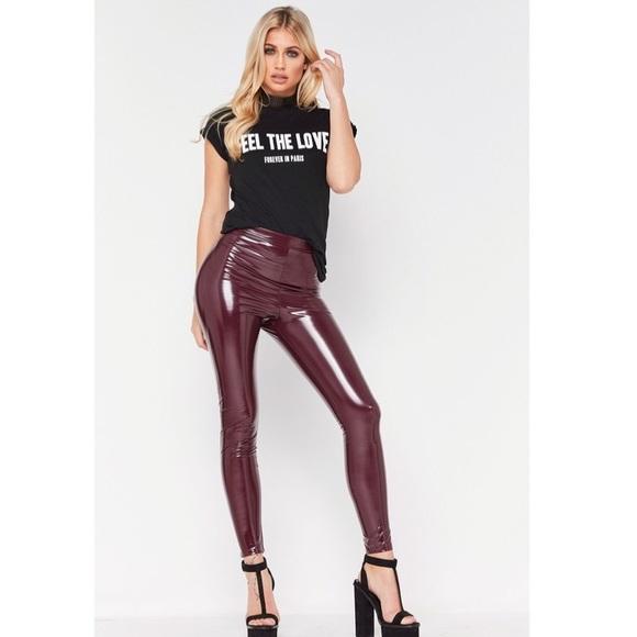 a1aed92858457 Misspap Pants | Tara Wine Vinyl Leggings | Poshmark